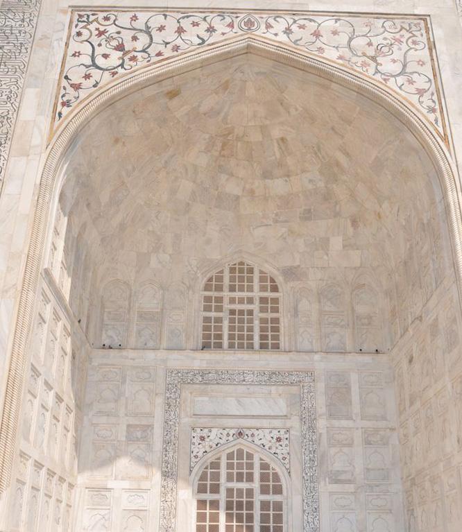 Dettagli della porta di ingresso del Taj Mahal